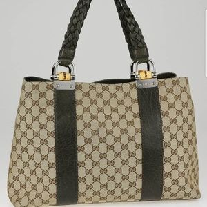 GUCCI GG CANVAS BAMBOO BAR MEDIUM TOTE BAG